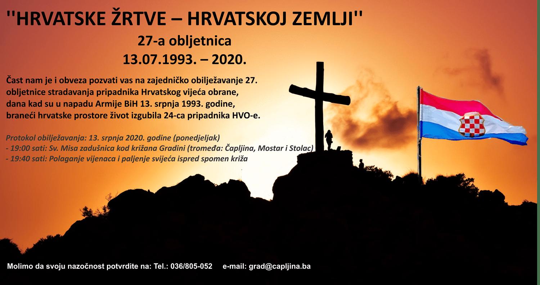 Obilježava se 27. obljetnica stradanja pripadnika HVO-a u Čapljini