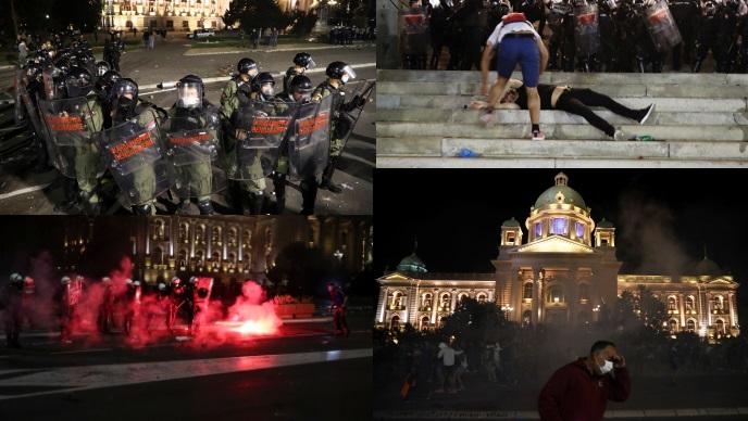Policija suzavcem, konjima i psima potisnula prosvjednike iz središta Beograda