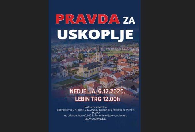 """Pravda za Uskoplje: U nedjelju najavljen mirni prosvjed zbog """"smrti demokracije"""""""