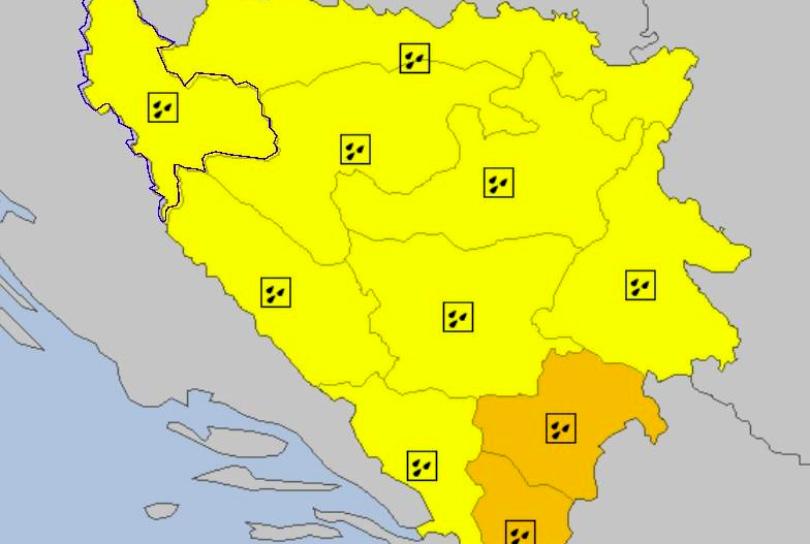 Upaljen meteolarm za cijelu BiH, u Mostaru i okolici očekuju se jaki udari vjetra