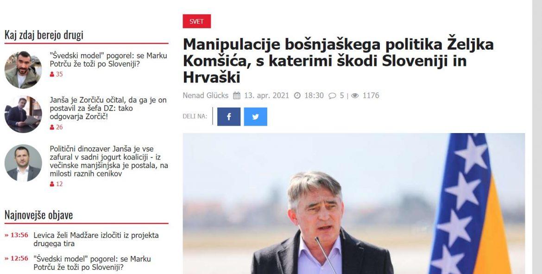 Ugledni slovenski medij Komšića nazvao bošnjačkim političarom