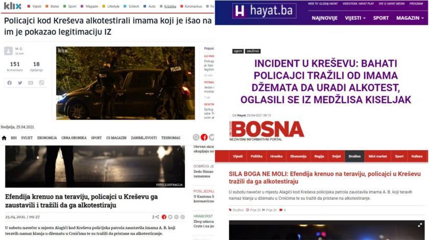 """Sarajevski portali se raspisali o """"maltretiranju imama"""" jer su ga policajci alkotestirali?"""